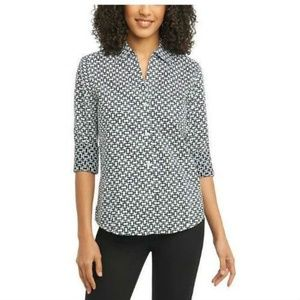 Foxcroft Ladies Printed Stretch Blouse, Black/Whit